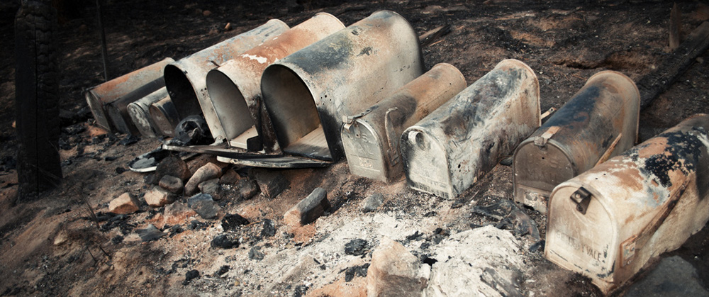 burnt mailboxes