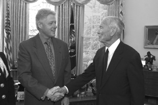 Gilbert F. White and U.S. president Clinton